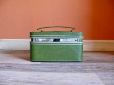 Vintage Train Case, Metal Watering Can, Vintage Storage, Travel Makeup, Red Berries, Vintage Green, Tan Leather, Wedding Cards, Carry On