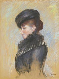 Artwork by Pierre-Auguste Renoir, FEMME À LA TOQUE NOIRE OR TÊTE DE JEUNE FEMME OR PORTRAIT DE FEMME EN BUSTE AU CHAPEAU NOIR, circa 1890 Made of pastel on paper