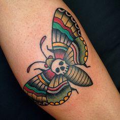 American Traditional mothTattoo | Death Moth, by Matthew Chahal, Welwyn Garden City, UK.