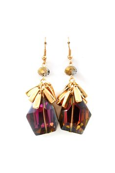 Kimmie Earrings in Amethyst Vitrail Crystal