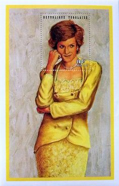 """Princess Diana """"Yellow Dress"""" Commemorative Stamp Sheet Issued by the Republic of Togo, Diana - Princess of Wales 1961 - 1997."""
