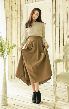 Yubsshop Round Pretzel Knit Pullover, Yubsshop Maxi Skirt, Yubsshop Suede Boots