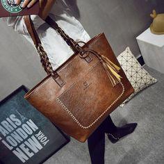 2016 PU Leather Handbag Bolsas Mujer Vintage Designer Tassel Shoulder Bags Large Women Bag Shopping Tote Bags sac a main L1077 #bags
