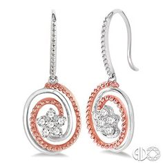 3/8 Ctw Round Cut Diamond Earrings in 14K White and Rose/Pink Gold