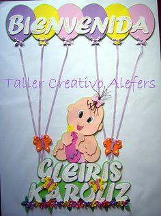 cartel goma eva Baby Shower Souvenirs, Tweety, Princess Peach, Embroidery, Creative, Diy, Showers, Shower Ideas, Letters