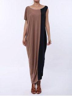 #RoseGal.com - #RoseGal Color Block Half Sleeve Maxi Dress - AdoreWe.com