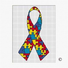 AUTISM AWARENESS RIBBON CROCHET AFGHAN PATTERN GRAPH .PDF