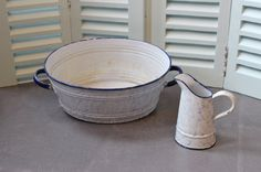 French Vintage Enamel Sink and Jug. Cloudy by LePasseRecompose
