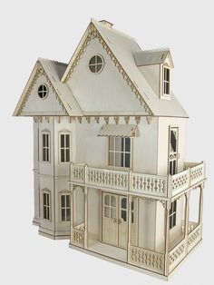 Gingerbread Victorian Dollhouse Kit, Journey's House of Dreams, Scale Doll House Kit. Last year Lea and Mia Dollhouse Supplies, Dollhouse Kits, Victorian Dollhouse, Modern Dollhouse, Dollhouse Furniture, Dollhouse Miniatures, Ikea Dollhouse, Vintage Dollhouse, Miniature Houses