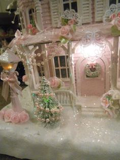 Shabby Pink Victorian Christmas Village Fiber Optic House Chic Roses Glitter | eBay
