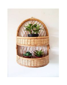 Fantastic Large 2 Tier Vintage Rattan Wicker by DragonflyGypsySoul