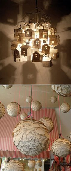 Not sure how to translate this or for what season but it could be very interesting in church.  paper house chandelier. Imagine all of these done in vintage book pages! OMG...