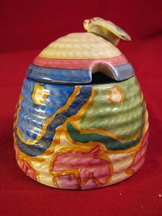 Rare Clarice Cliff Fantasque Blue Chinz Beehive Preserve Pot & Lid 1931 -34 in Pottery, Porcelain & Glass, Pottery, Clarice Cliff | eBay