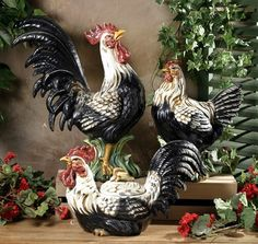 Black and white roosters