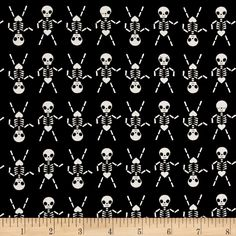 Cotton + Steel Boo Skeleton Dance Black from @fabricdotcom  Designed by Rashida Coleman Hale for Cotton + Steel, this cotton print collection is sure to bring a spooky aspect to your halloween themed quilt, apparel, or home decor sewing project. Colors include black and white.