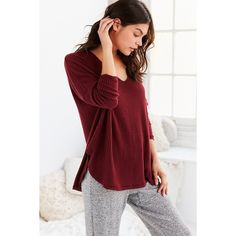Out From Under Oversized Cozy Thermal V-Neck Top ($44) ❤ liked on Polyvore featuring tops, slouchy tops, side slit top, red long sleeve top, maroon top and oversized tops