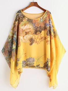 To find out about the Kimono Sleeve Florals Chiffon Blouse at SHEIN, part of our latest Blouses ready to shop online today! Cute Blouses, Blouses For Women, Woman Outfits, Fashion Outfits, Fashion Clothes, Women's Fashion, Floral Kimono, African Fashion Dresses, Kimono Fashion