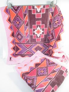 Vintage YSL towel set, pink aztec print, desert decor, southwest decor, Yves Saint Laurent pink towels, bathroom towels, boho decor by StephieD on Etsy