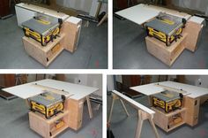 Tablesaw Outfeed Support Workstation With Aux Fence & Storage: 4 Steps (with Pictures) Tablesaw Outfeed Table, Workbenches, Woodworking Crafts, Woodworking Plans, Table Saw Workbench, Workbench Ideas, Dewalt Table Saw Stand, Garage Workbench, Garage Tools
