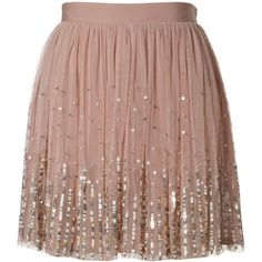 Lipsy Sequin Detail Tutu Skirt (€28) ❤ liked on Polyvore featuring skirts, mini skirts, bottoms, saias, faldas, lipsy, brown skirt, brown tutu, sequin mini skirt and sequin skirt