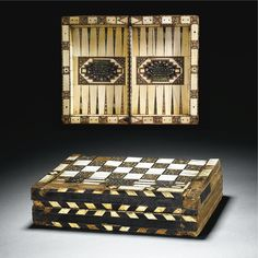 A rare and important Spanish Ivory-revetted micro-mosaic gaming board, Andalusia, century Islamic World, Islamic Art, Medieval Games, Board Games, Game Boards, Game Pieces, Andalusia, Casket, 15th Century