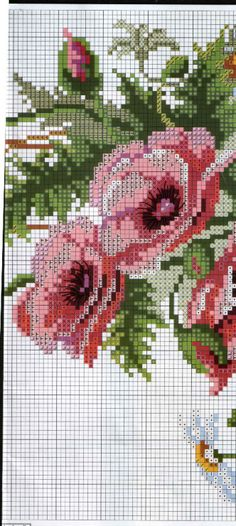 Cross stitch - flowers: poppies, daisies and wheat (chart - part C)