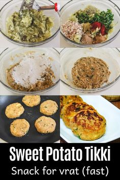 Sweet potato tikki or patties recipe - it is the perfect snack for Navratri fast or ekadashi vrat. It is filling and delicious.  If you like hint of sweetness in your savoury food then this is for you. Lemon juice is added which balance out the sweet flavor of the sweet potatoes. Chaat Masala, Palak Paneer, Navratri Recipes, Filling Snacks, Patties Recipe, Indian Food Recipes, Ethnic Recipes, Spice Things Up, Sweet Potato
