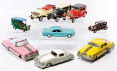 """Lot 487: Friction Driven Toy Vehicle Assortment; Including eight vehicles marked """"Japan"""" or """"Marx"""" and a plastic promotional Mustang"""