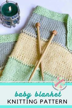 Easy Baby Knitting Patterns, Free Baby Blanket Patterns, Knit Patterns, Easy Knit Baby Blanket, Knitted Baby Blankets, Knitting Blogs, Knitting For Beginners, Beginner Knitting Blanket, Start Knitting