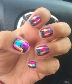 Foil nails is part of Cute Short nails Popular Haircuts - Cute Short nails Popular Haircuts Get Nails, Fancy Nails, Hair And Nails, Foil Nail Art, Foil Nails, Shellac Nails, Nail Manicure, Stiletto Nails, Coffin Nails