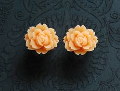 Apricot Peach Rose Flower Girly Plugs - 4g, 2g, 0g, 00g @Robinosaurus Rex.com