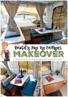 This is an awesome neutral themed pop up camper makeover--perfect if you don't want anything too over-the-top girly.