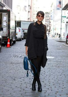 Spring Street Style - NYC - black textures + blue bag