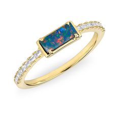 14KT Yellow Gold Diamond Blue Opal Maddie Diamond Ring designed by Anne Sisteron.  Metal Type: 14KT Yellow Gold, Gemstone: opal