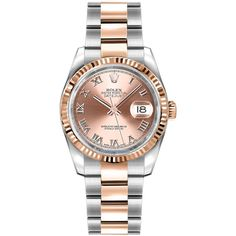 Rolex Datejust 36mm Stainless Steel and Rose Gold 116231 Pink Roman... ($9,415) ❤ liked on Polyvore featuring jewelry, watches, rolex watches, crown jewelry, polish jewelry, stainless steel jewelry and pink gold watches