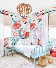 Poppy Mural, Crimson Poppy Wallpaper for Walls Big Girl Bedrooms, Little Girl Rooms, Modern Girls Rooms, New Room, Poppies, Bedroom Decor, Interior Design, Girl Room Wallpaper, Little Girl Wallpaper