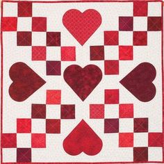 Scrappy Sweet Hearts, free quilt pattern from McCall's Quilting. How about embroidering a sentiment on each heart, like the popular candy conversational hearts?