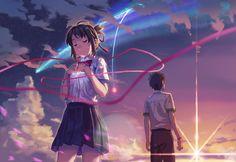 君の名は kimi no na wa Anime Films, Anime Characters, Kimi No Na Wa Wallpaper, Your Name Wallpaper, Hd Wallpaper, The Garden Of Words, Your Name Anime, What Is Your Name, Animes Wallpapers