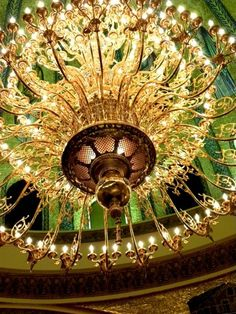 large chandelier with beautiful details Chinoiserie, Lamp Light, Light Up, Mellow Yellow, Beautiful Lights, Chandelier Lighting, Crystal Chandeliers, Shades Of Green, Green And Gold