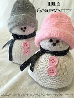 DIY- Sock Snowman (Snowmen) Crafts. OMG these are so cute and so easy to make. Perfect for our Christmas crafts.