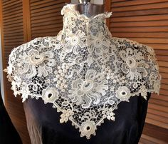 Late Victorian Early Edwardian Downton Abbey High Collar Irish Crochet Lace Bertha Rare Passion Flower Pattern. $85.00, via Etsy.