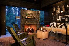 Natural Stone minimalist fireplace, glass surround