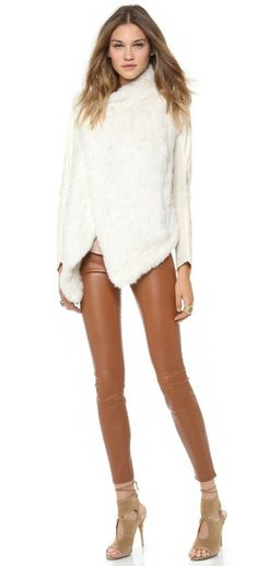 Knit Fur Jacket with Leather Sleeves - Lyst