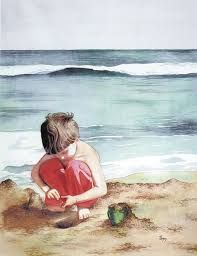 Beach Friend by Pomm Olsen Beach Watercolor, Watercolor Pictures, Watercolor Portraits, Watercolor Landscape, Watercolor Paintings, Watercolours, Watercolor Print, Jig Saw, Beach Friends