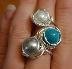 Wire Wrapped Gemstone Rings ღ