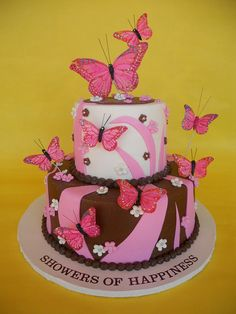 Butterfly Baby Shower Cakes | Playful Pink And Brown Butterfly Cake |  Flickr   Photo Sharing