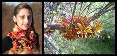 fotografias: Israel Tacul-Patricia Miranda modelo: Daphne Vasquez  hojas del arbusto del calafate infectadas por el hongo aecedium magellanicum, la inspiración de esta colección.