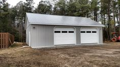 This residential garage was built in Prince George, VA by Superior Buildings. Pole Barn Shop, Pole Barn Kits, Pole Barn Garage, Garage Shed, Garage Workshop, Pole Barns, Diy Workshop, Detached Garage, Garage Door Sizes