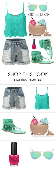 """""""le3no.com 5"""" by deeyanago ❤ liked on Polyvore featuring LE3NO, Coconuts, Kate Spade, OPI, GetTheLook, airportstyle and summersandals"""