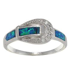 Blue Opal Buckle Ring